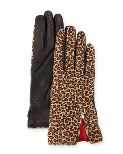 Leopard-Print Calf Hair/Leather Gloves