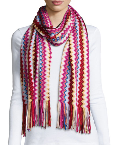 Knit Zigzag Scarf, Red/Yellow