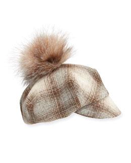 Check Shroom Tweed Cadet Cap with Fur Pom