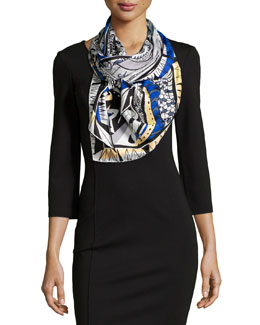 Leo Horoscope-Print Scarf, Dark Blue