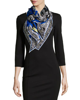 Scorpio Horoscope-Printed Scarf, Blue