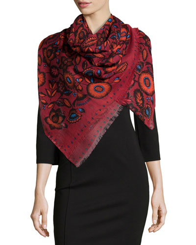 Cylinder Flower Defilé Scarf, Red