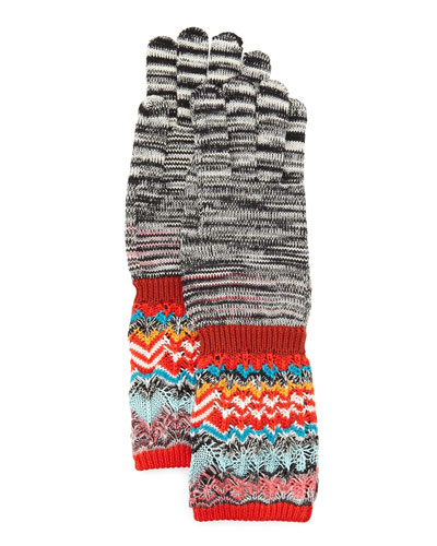 Space Dye & Zigzag Knit Gloves