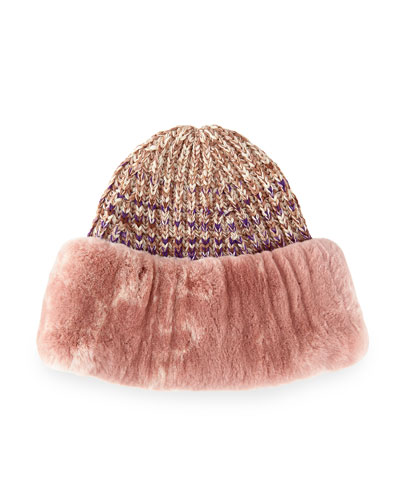 Rabbit Fur-Cuff Knit Hat, Pink