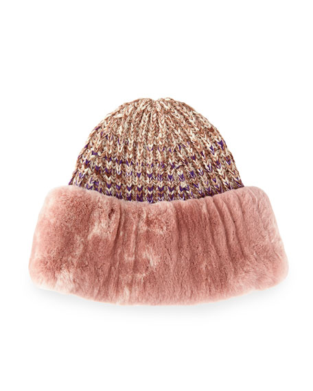 Rabbit Fur-Cuff Knit Hat, Pink