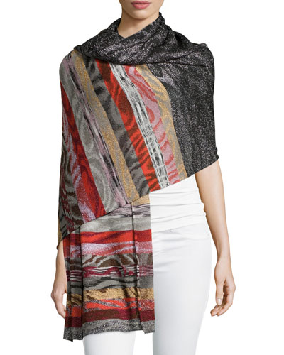 Shimmer Knit Shawl, Red Multi