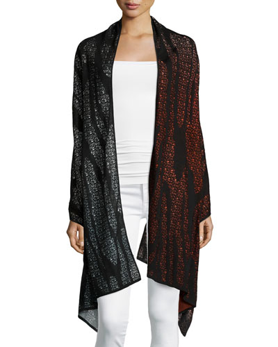 Tattoo Vain Runway Shawl, Red/Gray