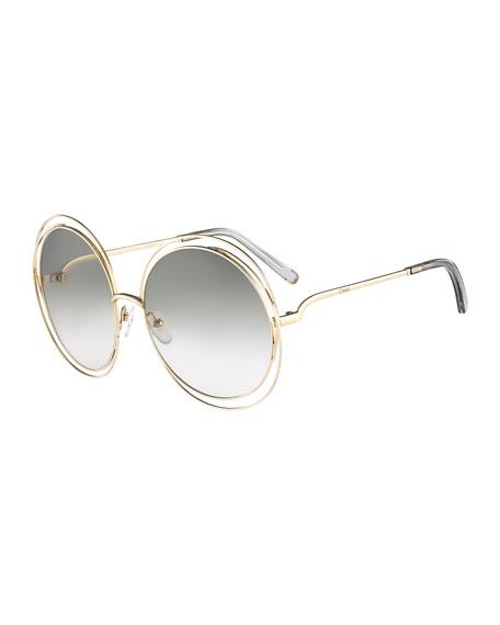 Chloe Carlina Round Wire-Frame Sunglasses, Gold/Gray
