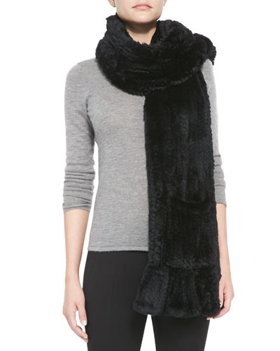 Knitted Rabbit Fur Wrap with Pocket, Black