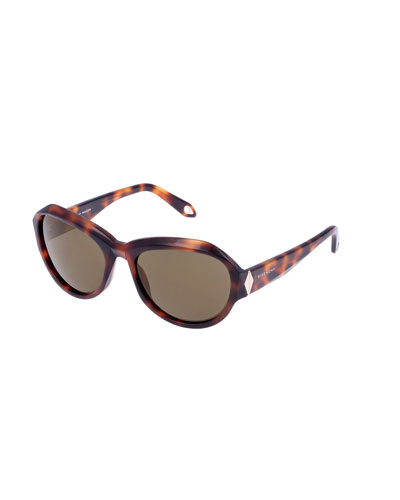 Oval Faceted-Frame Sunglasses, Havana