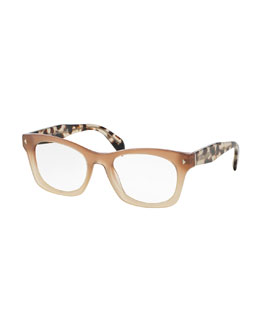 Ombre Square Fashion Glasses, Brown