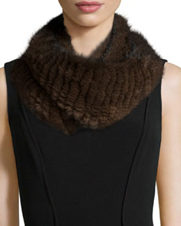 Knitted Mink Fur Infinity Scarf, Brown