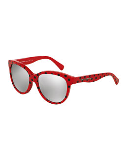 Kids' Dot-Print Sunglasses, Red/Black