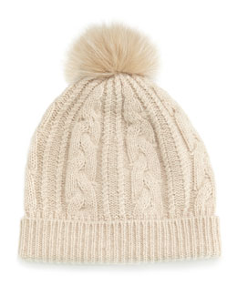 Cashmere Cable-Knit Hat w/Fur Pom Pom, Oatmeal