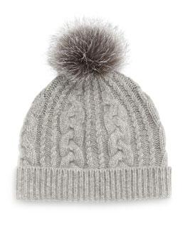 Cashmere Cable-Knit Hat w/Fur Pom Pom, Gray