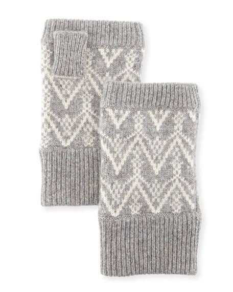 Sofia Cashmere Fair Isle Cashmere Fingerless Gloves