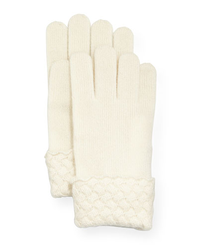 Cashmere Basket-Weave Trim Tech Gloves