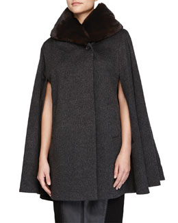 Mink Fur-Collar Cashmere Cape, Gray