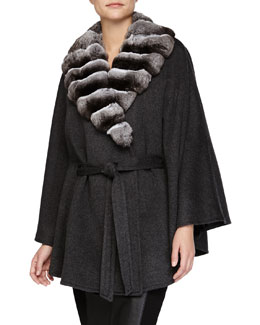 Fur-Collar Belted Cashmere Cape, Gray