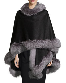 Fox-Fur-Trim Cashmere Cape, Charcoal