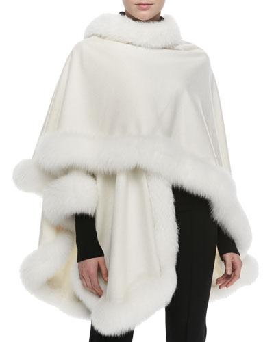 Fox Fur-Trimmed Cashmere U-Cape, White