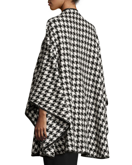 Houndstooth Leather-Trim Cape, Black/White