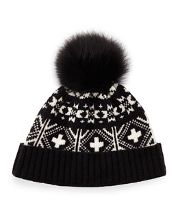 Fair Isle Hat w/Fox Fur Pom-Pom