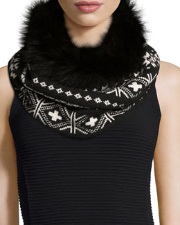 Fair Isle Cashmere Snood w/Fur Trim, Black/White