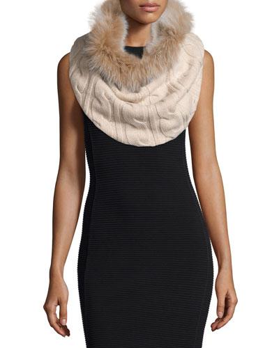 Cashmere Fur-Trim Cable-Knit Snood