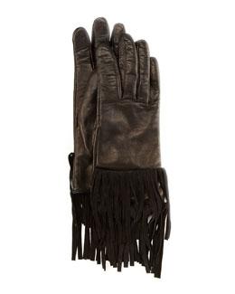 Sheepskin Fringe Gloves, Black