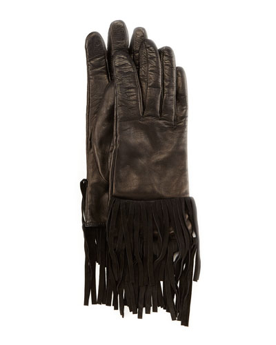 Sheepskin Fringe Gloves, Black