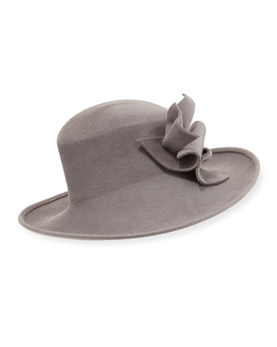 Wool Felt Hat w/Abstract Bow