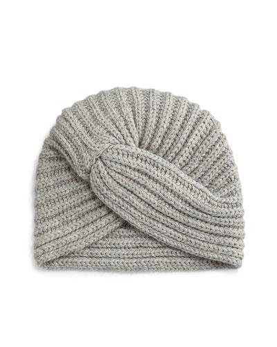 Cashmere Turban-Style Beanie Hat