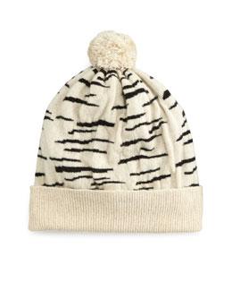 Cashmere Tiger-Stripe Beanie Hat