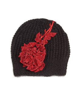 Crystal Rose Knit Beanie Hat