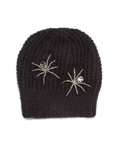 Double Crystal Spider Knit Beanie Hat