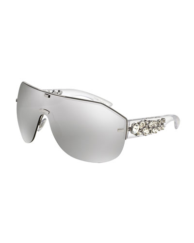 Jewel-Temple Shield Sunglasses
