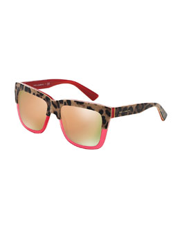Animalier Dual-Color Mirror Sunglasses, Raspberry