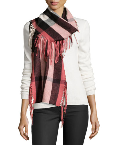 The Fringe Cashmere Half Mega Check Scarf, Rose