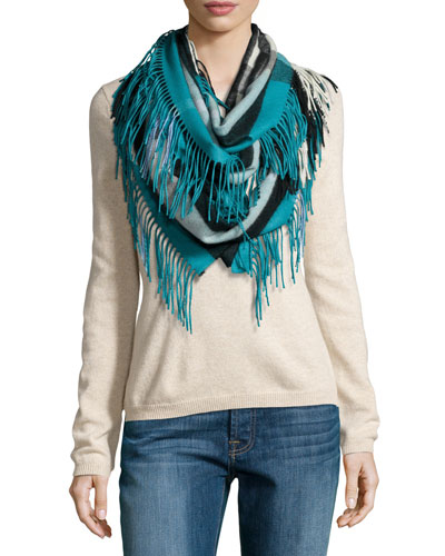 The Fringe Cashmere Half Mega Check Scarf, Teal