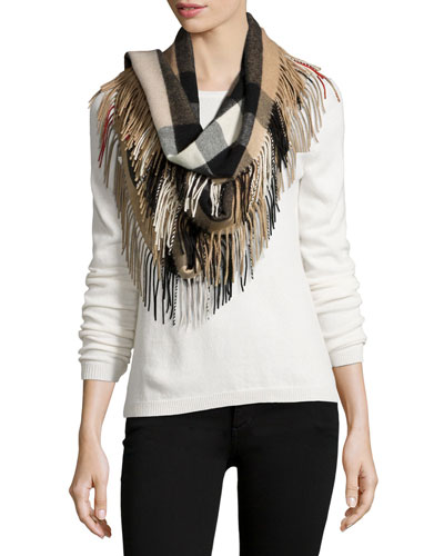 The Fringe Half Mega Check Scarf, Camel