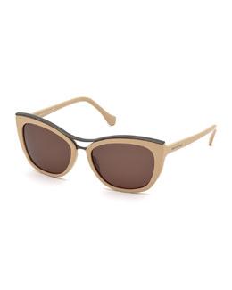 Cat-Eye Brow-Bar Sunglasses