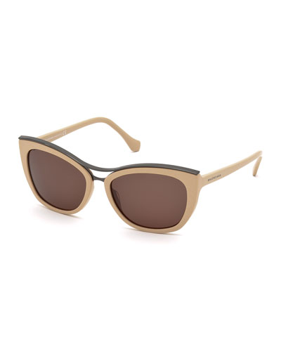 Cat-Eye Brow-Bar Sunglasses