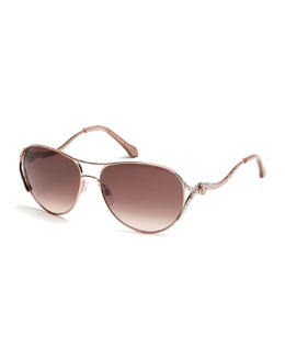 Megrez Aviator Sunglasses, Rose Gold