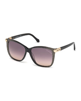 Menkent Square Glitter-Detail Sunglasses