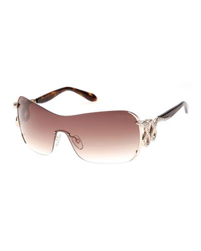Snake-Temple Shield Sunglasses