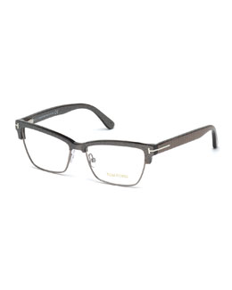 Square Dual-Rimmed Metal Fashion Glasses
