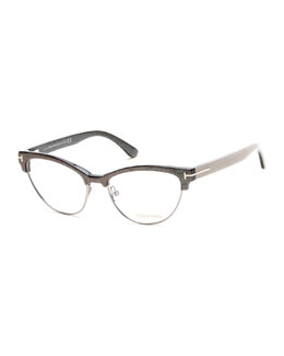 Cat-Eye Dual-Rimmed Fashion Glasses
