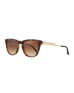 Rectangle Havana Notched-Arm Sunglasses