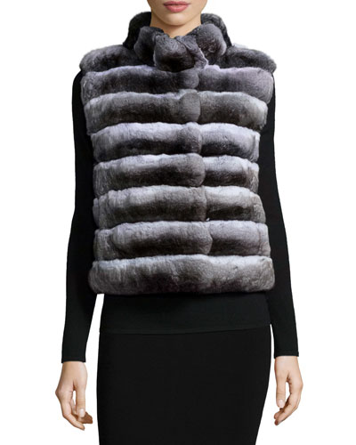 Chinchilla Split-Fur Vest, Natural Gray